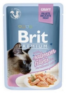 Brit Premium Cat Sterilised Fillets with Salmon sos saszetka 85g