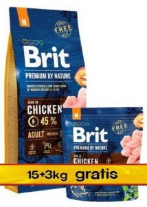 Brit Premium By Nature Adult M Medium 18kg (15+3kg gratis)