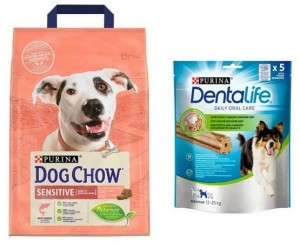 Purina Dog Chow Adult Sensitive Łosoś 2,5kg + przysmak Dentalife gratis